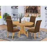 East West Furniture 5Pc Dining Set Includes an Oval Dinette Table with Butterfly Leaf and Four Parson Chairs with Dark Coffee Fabric, Oak Finish