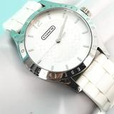 Coach Accessories | Coach Maddy White Rubber Signature Womens Analog W | Color: White | Size: Os