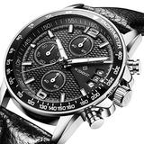Men's Watch Chronograph Multifunction Silver Stainless Steel Boys Watch Automatic Calendar Quartz Movmengt Sports Military Date Luminous Fashion Casual Classic Black Leather Watch Digital Steel Watch