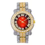 Mens 45mm Iced Out Two-Tone Metal Band Watch with Diamond Studded Roman Index and Gradient Dial - Custom Look Diamond Studded Bezel and Band - Quartz Movement