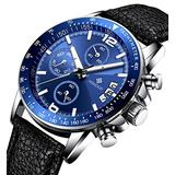 Mens Watch Chronograph Multifunction Silver Stainless Steel Boys Blue Face Watch Automatic Calendar Quartz Movmengt Sports Military Date Fashion Casual Classic Black Leather Watch Digital Steel Watch
