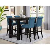 Roundhill Furniture Aneta Antique Black Finished Wood 5-Piece Pub Set, Table with 4 Upholstered Barstools, Blue