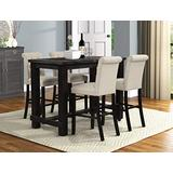 Roundhill Furniture Aneta Antique Black Finished Wood 5-Piece Pub Set, Table with 4 Upholstered Barstools, Tan