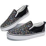 Obtaom Womens Flower Print Slip on Shoes Comfortable Canvas Fashion Sneakers Red Multi Canvas Shoes Low Top Slip Ons(Black US8)