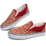 Obtaom Womens Flower Print Slip on Shoes Comfortable Canvas Fashion Sneakers Red Multi Canvas Shoes Low Top Slip Ons(Red US9)