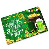 Moonite Happy St. Patrick's Day Shamrock Clovers Lucky Leaves Door Mats Irish Floor Mat Indoor Outdoor Welcome Doormat Entrance Bathroom Doormat Non Slip Washable St Patrick's Day Home Decor (F)