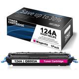 1 Pack Magenta 124A Toner Compatible Remanufactured for HP 124A | Q6003A Toner Cartridge Replacement for Color Laserjet 2605dtn CM1015mfp CM1017mfp 1600 2600n 2605dn Printer Toner Cartridge