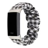 Tech Zebra Replacement Bands Black - Black & White Plaid Band Replacement for Fitbit Charge 3