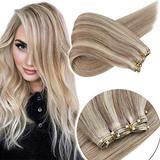 Sunny 18inch (EZ Weft) Microbead Weft Hair Extensions Human Hair 100% Remy Human Hair Extensions #18 Dark Ash Blonde Highlight with #613 Beach Blonde 12inch Width 50g