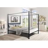 Globalucky Metal Framed Canopy Platform Bed Queen Platform Bed, Canopy Metal Upholstered Bed Frame with Four Posters, Sturdy Steel Mattress Foundation with Mattress Support, Built-in Headboard (black)