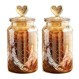 YY Vintage Style 2-Pack Amber Glass Food Storage Jars Canister Crystal Candy Jar, Clear Glass Apothecary Jar Wedding Candy Buffet Jar Food Jar (Diamond Lattice, 2-Pack Large 45Oz)