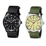 2 Mens Watches Bundle. Waterproof Military Watches for Men Analog Tactical Wrist Watch Army Field Watches Work Watch Outdoor Casual Quartz Wristwatch Nylon Date Yellow+Black