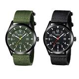 2 Mens Watches Bundle. Waterproof Military Watches for Men Analog Tactical Wrist Watch Army Field Watches Work Watch Outdoor Casual Quartz Wristwatch Nylon Date Green+Black