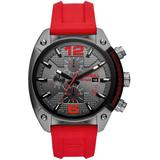 Overflow Chronograph Red Silicone Watch 55mm - Gray - DIESEL Watches