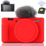 Yisau Camera Case for Sony ZV-1, Sony ZV1 Camera Case Digital Camera Anti-Scratch Slim Fit Soft DSLR Camera Sleeve with ZV1 Screen Protector (Red)