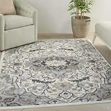 """Nourison Elation Persian Floral Traditional Ivory Grey 8' Runner Area Rug , 2'3"""" x 7'6"""""""
