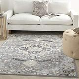 """Nourison Elation Persian Floral Traditional Grey 8' Runner Area Rug , 2'3"""" x 7'6"""""""