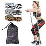 KUTO 3Pcs Long Fabric Resistance Bands Set, Leopard Resistance Bands, 2083cm Workout Bands, Women Leopard Exercise Bands Cloth Loop Resistance Bands for Stretch Fitness Bands