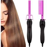 Hot Comb,Electric Heating Comb,Hot Comb Hair Straightener,Ceramic Comb Security Portable Curling Iron Heated Brush,Multifunctional Copper Hair Straightener Brush Straightening Comb (purple)