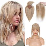 100% Real Human Hair Topper with Bangs Mono Base Crown Topper Hair Piece Clip in on Hair Toppers for Women with Hair Loss Thinning Grey Hair 14 Inch 12P613# Golden Brown&Bleach Blonde