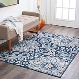 Piper Navy 4x6 Rectangle Area Rug for Dorm, Kids, Baby, or Nursery Room - Transitional, Floral