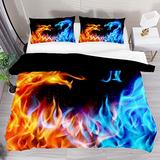 FOLPPLY Red Blue Fire Dragon Duvet Cover Set, California King Bedding Set 3 Pieces, Comforter Sheet Set with Pillow Shams Room Decor for Boys Girls Teens Adults