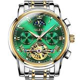 Automatic Men's Wrist Watches Self Winding Skeleton Watch for Men,Swiss Brand Green Dial Watches Fashion 2 Tone Stainless Steel Watches Luminous Water Resistant Wristwatches,OLEVS Men Dress Watches