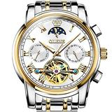 Automatic Watch for Men Stainless Steel Two Tone,Mechanical White Dial Watch with Day Date,Tourbillon Skeleton Watch Self Winding Men's Wrist Watch Without Battery OLEVS Luxury Waterproof Wristwatch