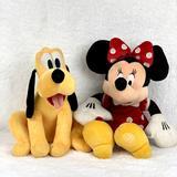 Disney Toys | Minnie & Pluto Stuffed Plush Toys | Color: Red/Yellow | Size: Osbb
