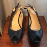 Nine West Shoes   Nine West Sling Back Open Toe Wedges   Color: Black   Size: 7.5
