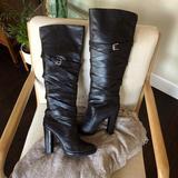 Michael Kors Shoes | Michael Kors Black Leather Knee-High Boots Size10 | Color: Black | Size: 10