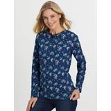 Women's Plus Long-Sleeve Pointelle Henley Top, Rich Indigo Bouquet XL