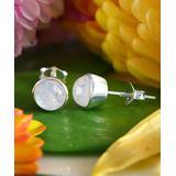 Katherine Winters Women's Earrings SILVER - Moonstone & Sterling Silver Stud Earrings