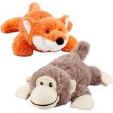 Frisco Plush Squeaking Monkey Dog Toy, Medium & Plush Squeaking Fox Dog Toy, Medium