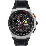 Chronograph Aspire Black Leather & Silicone Strap Watch 44mm - Black - Ferrari Watches