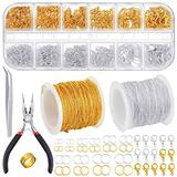 PP OPOUNT Jewelry Chains Necklace Chains 2.0mm Jewelry Making Chains with 960 Pieces Jump Rings 40 Pieces Lobster Clasps Jewelry Making Tools for Jewelry Making(Gold, Silver Total in 65 Feet)