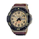Casio Men's Quartz Nylon Strap, Khaki, 28.4 Casual Watch (Model: MRW-210HB-5BVCF)