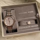 Michael Kors Accessories   Michael Kors Womens Two-Tone Watch & Bracelet Set   Color: Gold/Silver   Size: 36 Mm Case