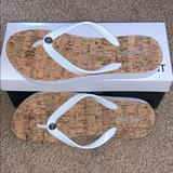Nine West Shoes | Nine West White Flip-Flops | Color: Brown/White | Size: 6