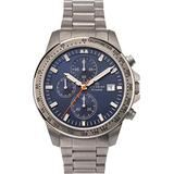 Mens Accurist Titanium Chronograph Watch with Blue Dial and Silver Strap 7244