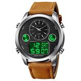 VIGOROSO Men's Luxury Analog Digital Alarm Watches Casual Leather Strap Chronograph World Time LED Date Wrist Watch Fashion Army Military Sport Watch (Brown&Silver)