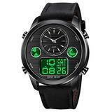 VIGOROSO Men's Luxury Analog Digital Alarm Watches Casual Leather Strap Chronograph World Time LED Date Wrist Watch Fashion Army Military Sport Watch (Black)