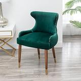 Roundhill Furniture Lindale Velvet Upholstered Nailhead Trim Accent Chair, Green
