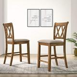 Windvale Fabric Upholstered Counter Height Dining Chairs, Set of 2, Cottage Oak