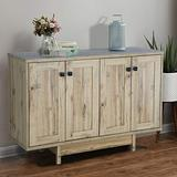 """M MAJOR-Q 99600-3179JET 47"""" Sideboard, Large Dining Server Cupboard Buffet Table with Two Storage Cabinets, Beige Oak Finish"""