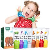 XIANGZI Finger Paints For Toddlers Non Toxic,Washable Finger Paint Set For Kids,Art Supplies For Kids,My First Fingerpaint Kit, Washable Paint For Kids Diy Crafts Painting (8 Color)