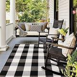 Black and White Buffalo Plaid Outdoor Indoor Rug Doormat - 3'x 5' , Cotton Woven Black and White Checkered Porch Rug Indoor Outdoor Area Rugs Farmhouse Washable Door Mat for Front Kitchen Bathroom