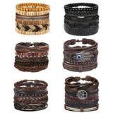 Florideco 30Pcs Braided Leather Bracelets Set for Men Women Woven Cuff Wrap Bracelet Ethnic Tribal Wooden Beads Bracelets Adjustable