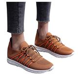 jkhhi Women Breathable Mesh Casual Lace-Up Sport Shoes Shallow Mouth Running Shoes Comfortable Soft Sole Sneaker Slip-on(Brown,42)