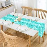 GALMAXS7 Teal Table Runner, Dot Burlap Farmhouse Table Runners Teal Decor Modern Dining Table Runner for Dining Room, Kitchen, Dinner, Coffee Table Decor 13 x 70 Inch, Dots